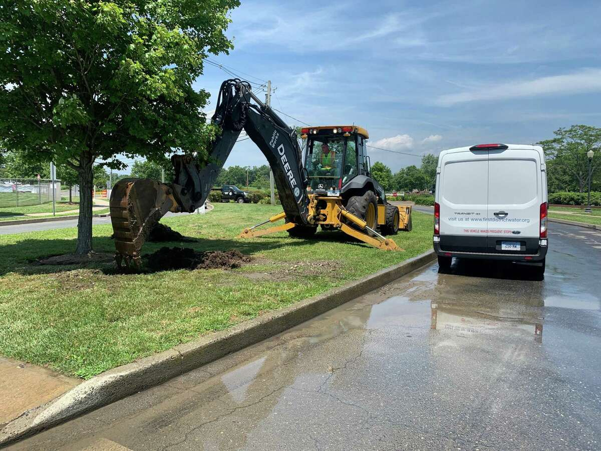 A water main break at Norwalk's Calf Pasture Beach on Monday, June 28 left beachgoers without restrooms, showers and use of the splash pad, among other services.