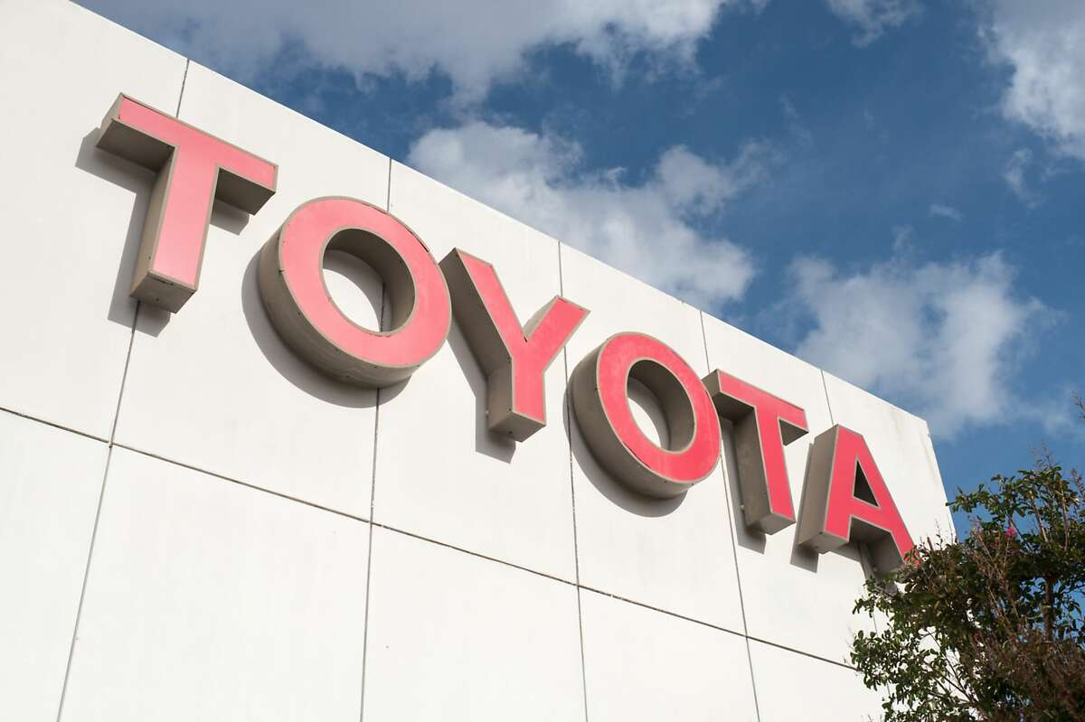 Close-up of sign with logo on building facade at the San Francisco regional headquarters of automotive company Toyota in the Bishop Ranch office park in San Ramon, California, October 20, 2017. (Photo by Smith Collection/Gado/Getty Images)