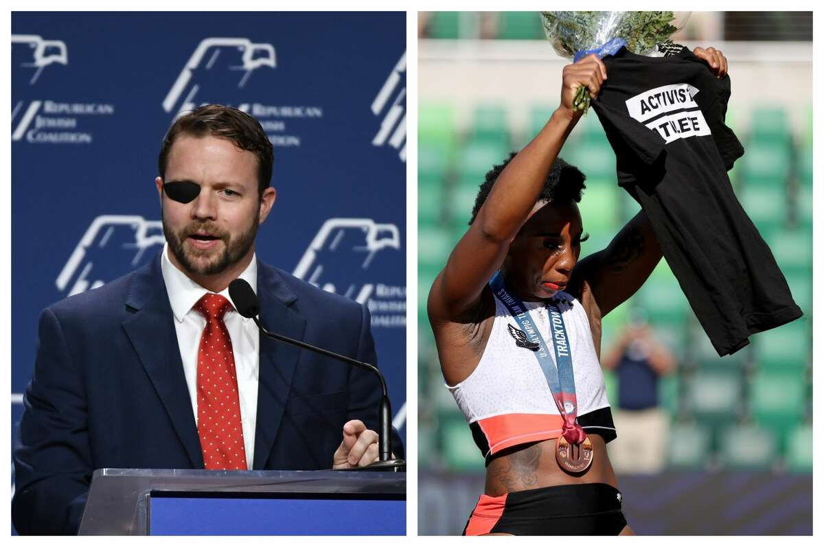 Rep. Dan Crenshaw is calling for hammer thrower Gwen Berry to be removed from the Olympic track and field team after she protested the national anthem.