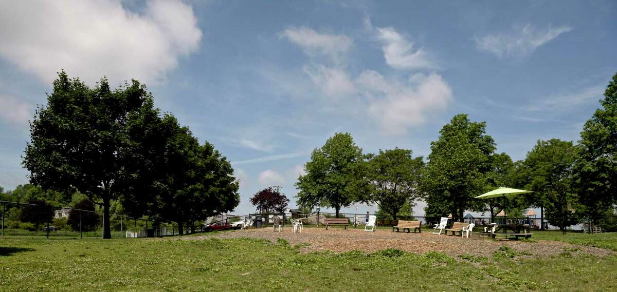 The removal of two sizable shade trees from New Fairfield's dog park has led volunteers to offer to build a pavilion.