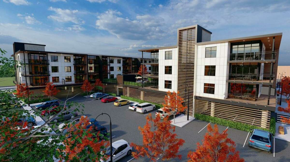 A rendering shows a planned 132-unit apartment complex that will be built near the Norwalk-Wilton border.