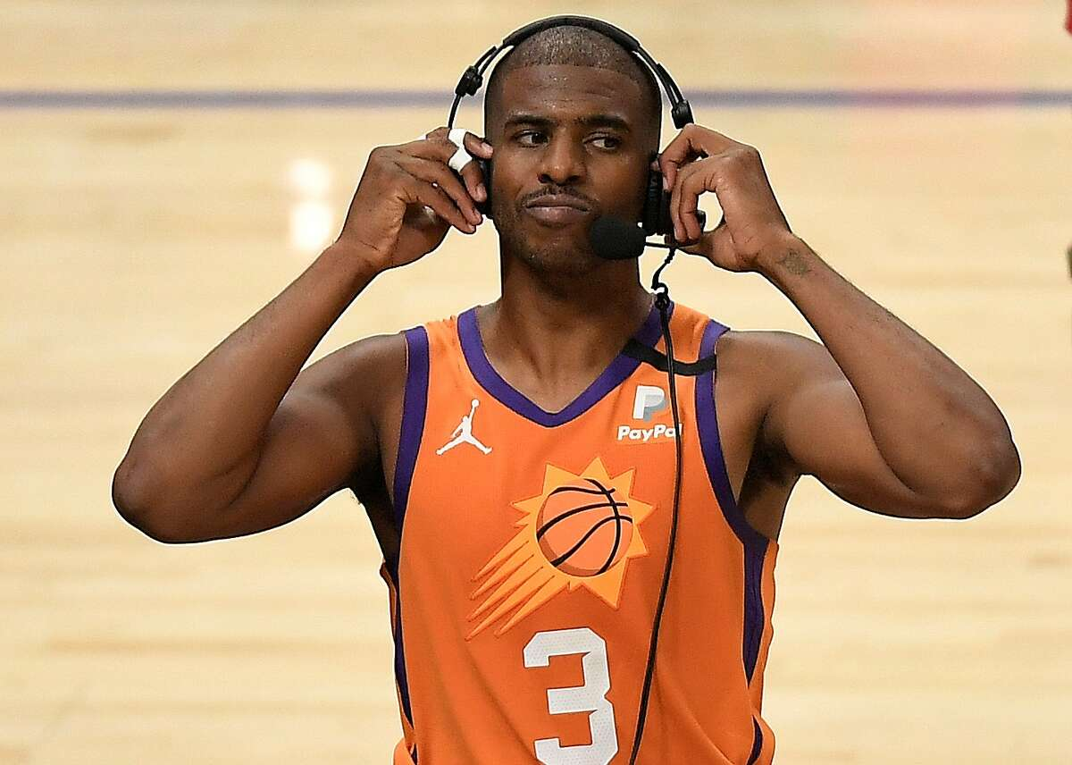 Chris Paul of the Phoenix Suns talks to the media following a win against the LA Clippers in Game 4 of the Western Conference Finals at Staples Center on June 26, 2021 in Los Angeles, California.
