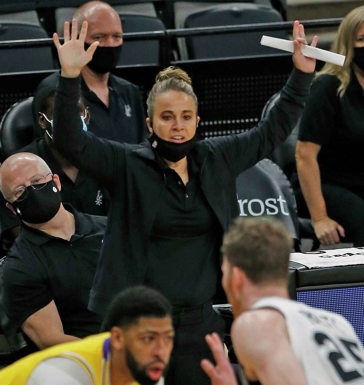 San Antonio Spurs assistant Becky Hammon is the first woman finalist for an NBA head coaching vacancy. (Ronald Cortes/Getty Images/TNS)