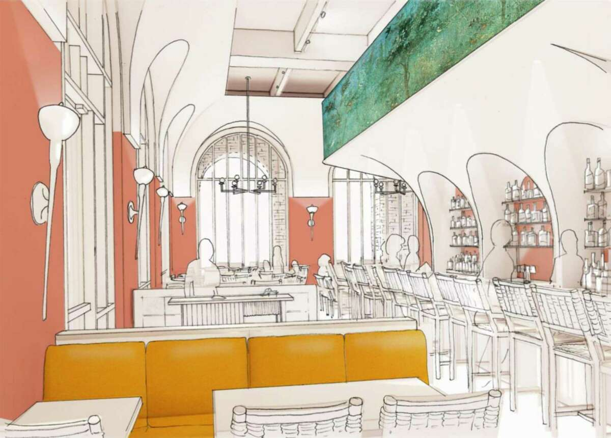 A rendering shows how the interior will look at Allora, a new Italian restaurant coming to the Pearl this fall.