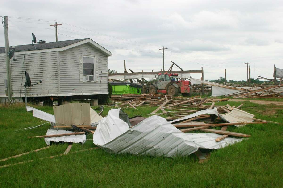 A tornado near Remus over the weekenddestroyedtwo barns at Chapin Family Farms, where the most severe damage occurred. The barns housed young heifers and steers that the family was raising. One heifer was crushed to death and 10 other animals suffered injuries. (Pioneer photo/Cathie Crew)