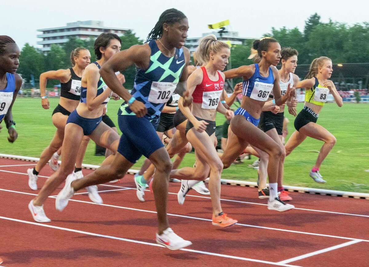 Caster Semenya, center, starts in the women's 5000 meter race in Regensburg, Saturday, June 19, 2021. The two-time 800-meter Olympic champion from South Africa once again missed out on qualifying for the Summer Games in Tokyo during her surprising start in Regensburg. (Stefan Puchner/dpa via AP)