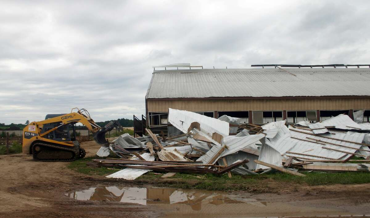 A tornado near Remus over the weekenddestroyedtwo barns at Chapin Family Farms, where the most severe damage occurred. The barns housed young heifers and steers that the family was raising. One heifer was crushed to death and 10 other animals suffered injuries.