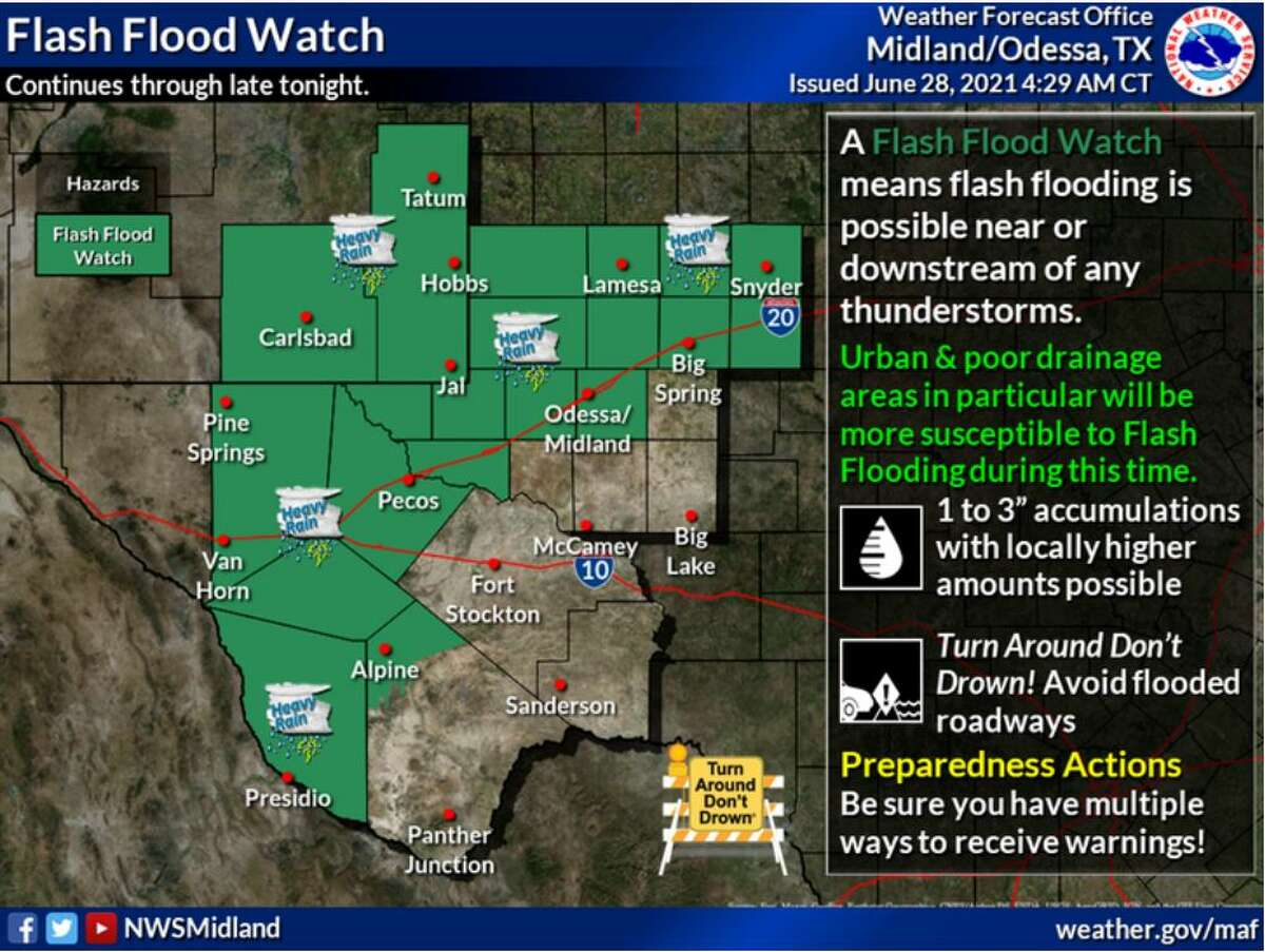 A Flash Flood Watch continues through late tonight. Multiple rounds of heavy rainfall is expected in the watch area.