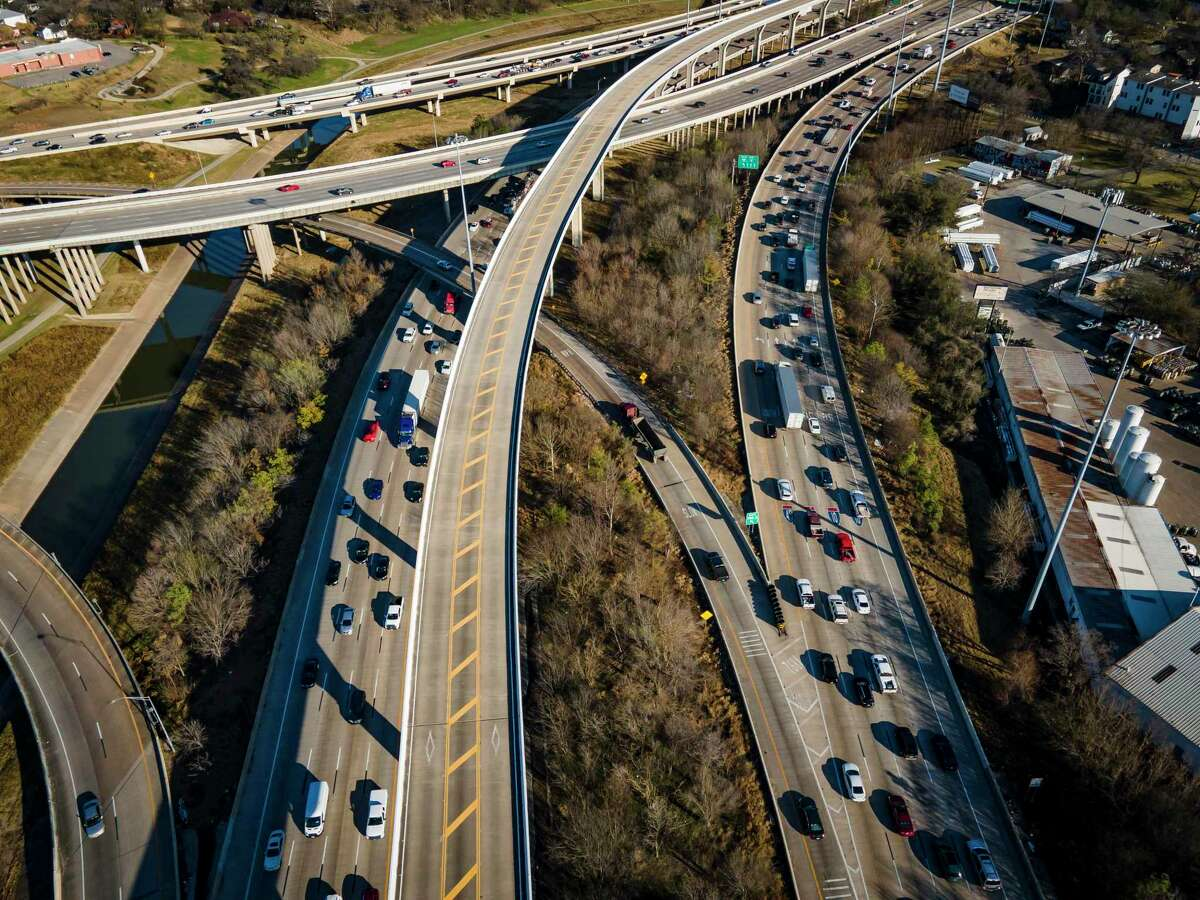 Traffic travels on Interstate 10 near downtown Houston near Houston Avenue on March 3, 2021. Officials are considering how to increase capacity on Interstate 10 within Loop 610, including possibly adding managed lanes from the West Loop to downtown Houston.