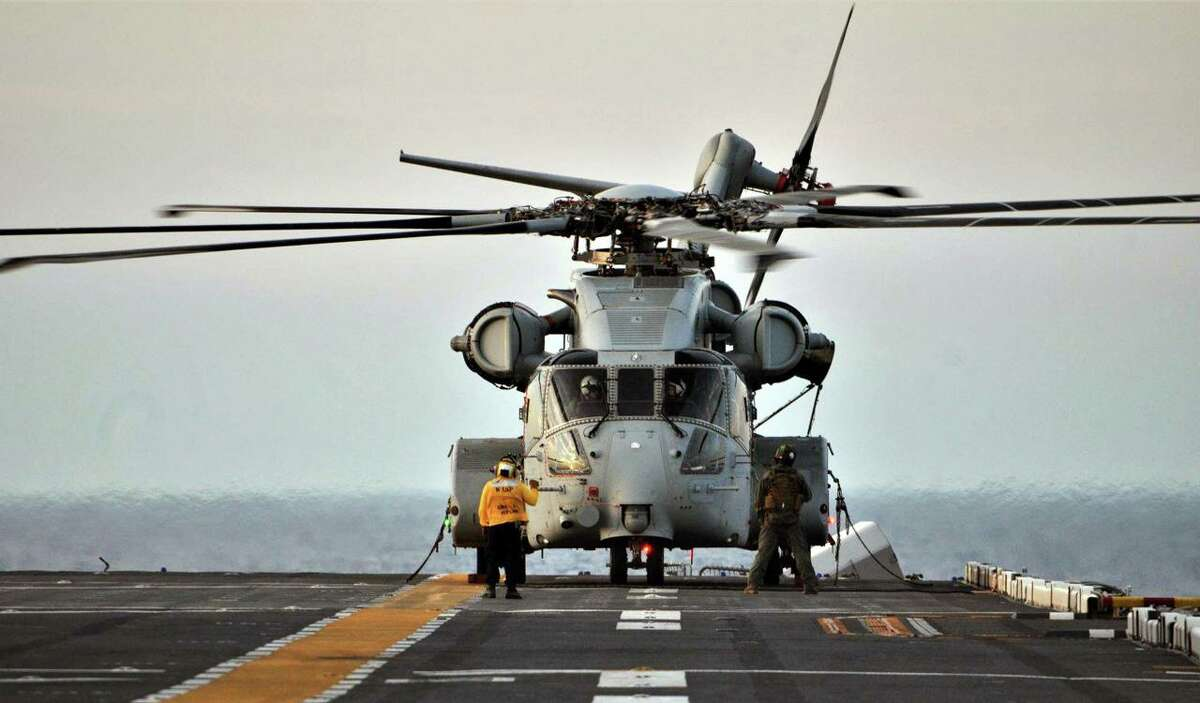 A CH-53K King Stallion helicopter on the flight deck of the USS Wasp during sea trials in June 2020.