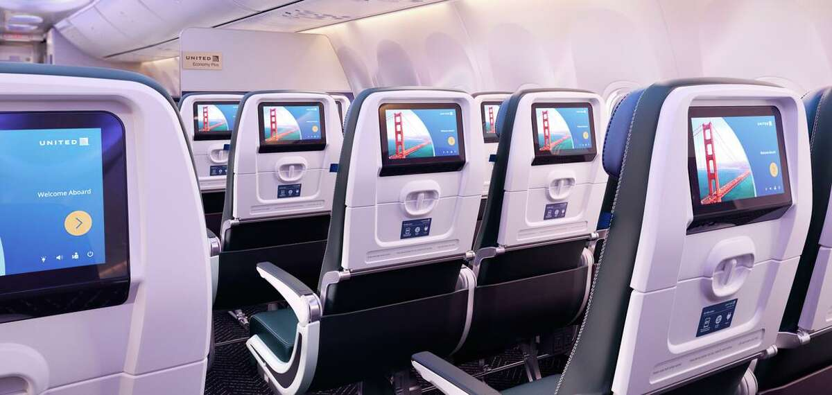 A rendering illustrates the interior of planes ordered by United Airlines, with more seats and larger storage bins compared to existing planes.