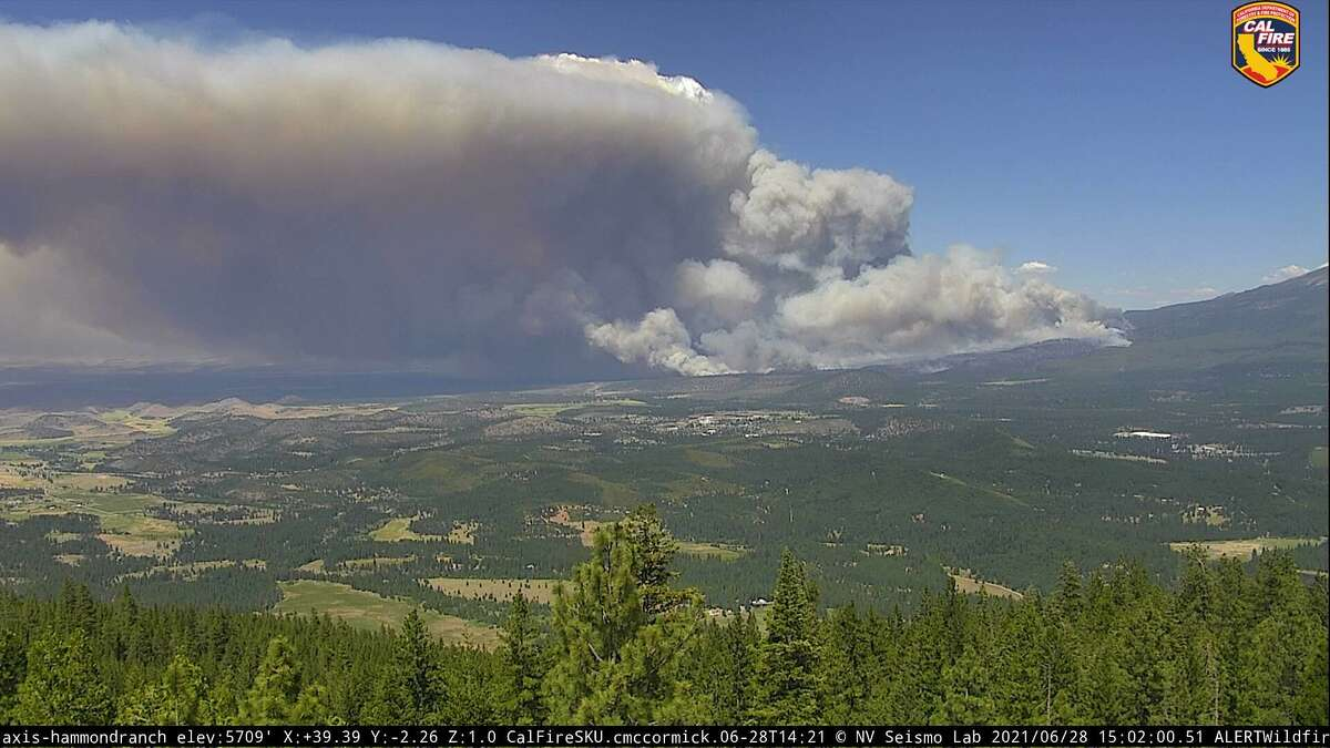 An image from a wildfire camera showing the Lava Fire burning near Weed, Calif.