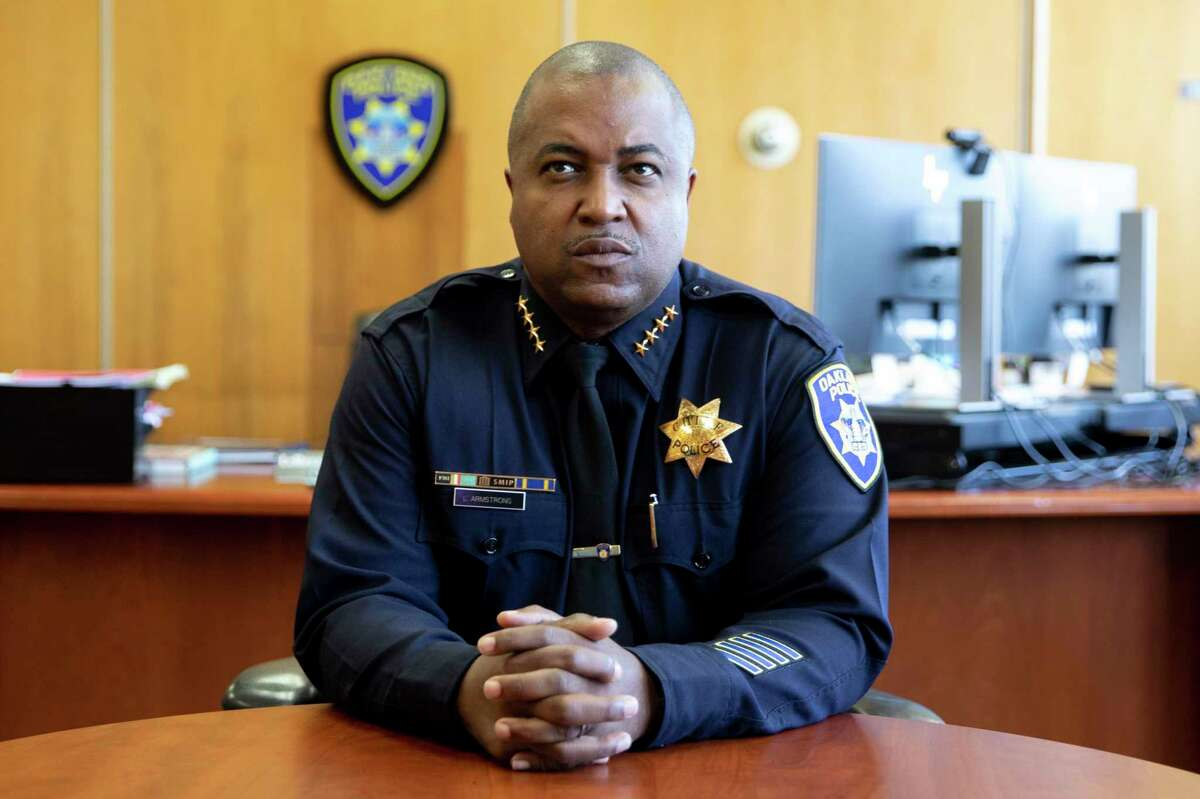 Oakland Police Chief LeRonne Armstrong works in his office at the Oakland Police Department Headquarters in downtown Oakland, Calif. Monday, May 24, 2021.