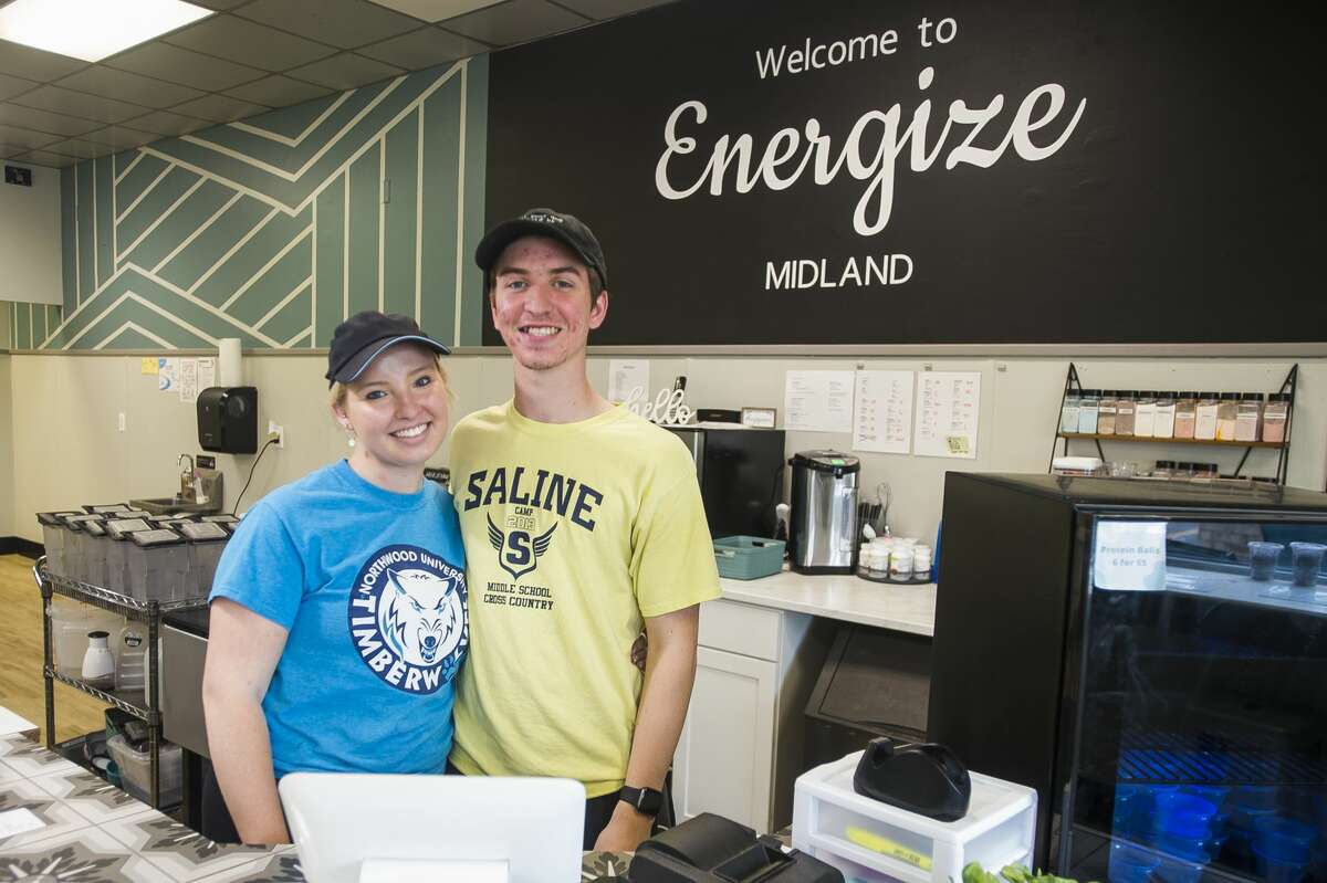 Kennedy Vancalbergh, left, and Shay Milley, right, owners of Energize Midland, pose for a portrait Monday, June 28, 2021 inside the shop at 111 W. Wackerly Street in Midland. (Katy Kildee/kkildee@mdn.net)