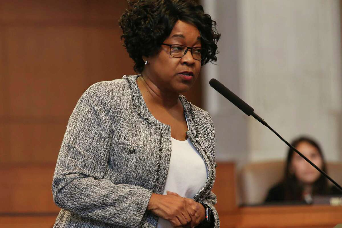 CPS Energy President and CEO Paula Gold-Williams answers questions from San Antonio City Council members, Thursday, June 24, 2021. The Emergency Preparedness Committee, chaired by former city council member Reed Williams, presented their report on the February storm.
