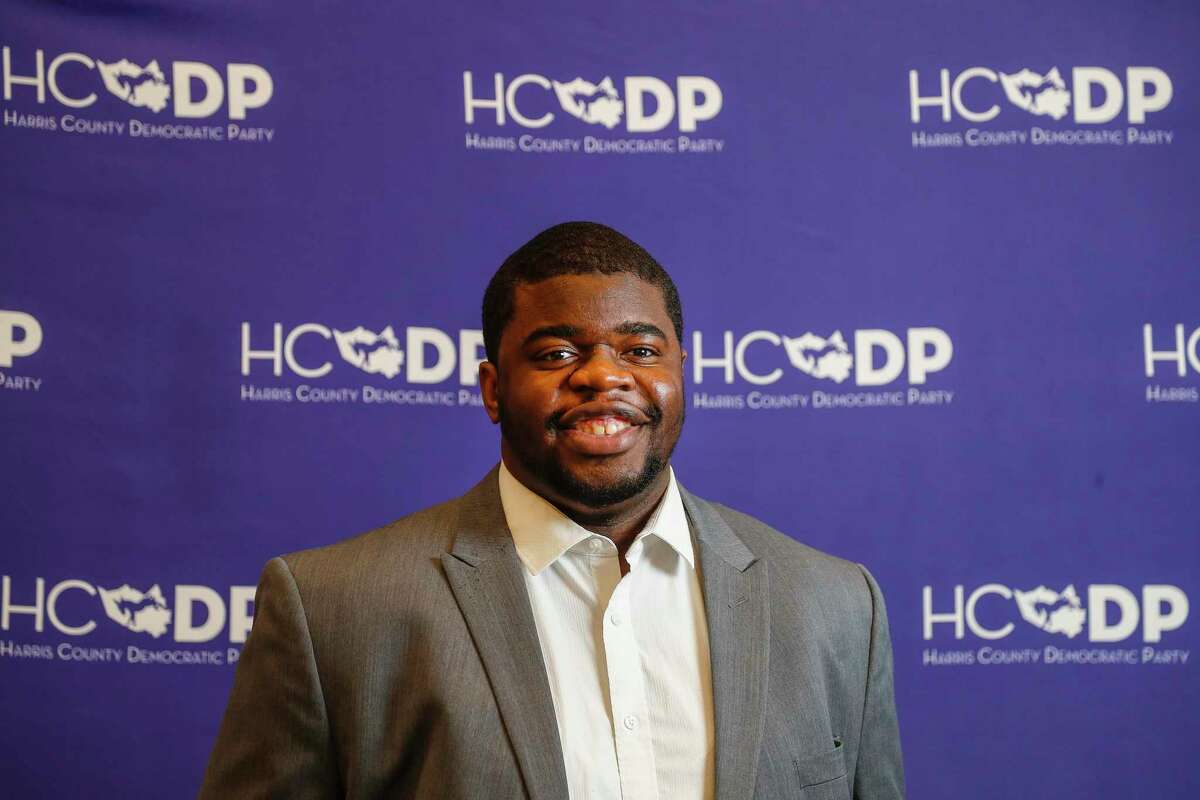 Odus Evbagharu, 28, the new Harris County Democratic Party chair is the party's first Black chair and the youngest person to hold the position. Photographed at the Harris County Democratic Party headquarters, Monday, June 28, 2021, in Houston.