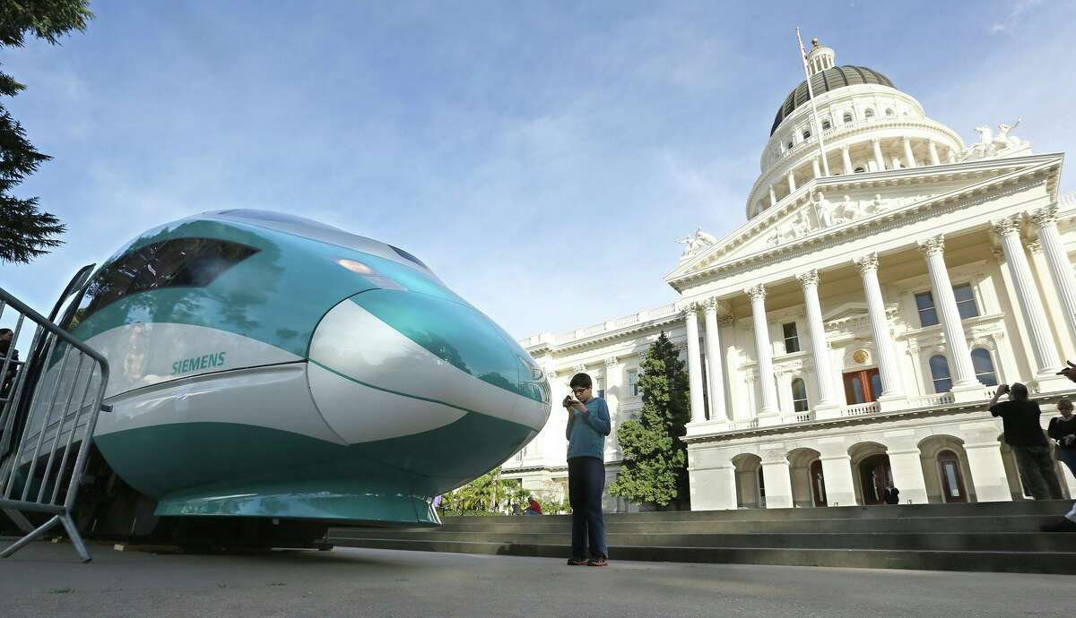 A full-scale mock-up of a high-speed train at the Capitol. Some in the Legislature are pushing to reallocate the project's funding.