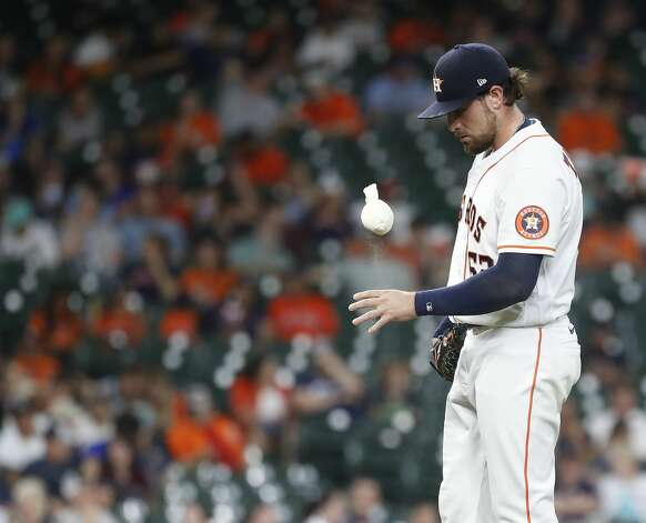 Houston Astros starting pitcher Blake Taylor (62) reacts after loading the bases after walking Baltimore Orioles Ryan Mountcastle during the seventh inning of an MLB baseball game at Minute Maid Park, Monday, June 28, 2021, in Houston. Photo: Karen Warren/Staff Photographer / @2021 Houston Chronicle