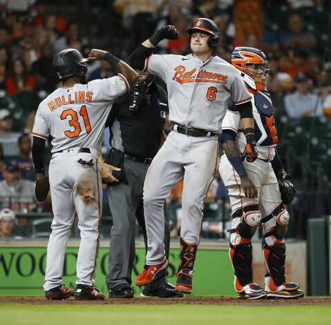 Baltimore Orioles Ryan Mountcastle (6) celebrates his home run off of Houston Astros starting pitcher Zack Greinke with Cedric Mullins (31) during the fifth inning of an MLB baseball game at Minute Maid Park, Monday, June 28, 2021, in Houston. Photo: Karen Warren/Staff Photographer / @2021 Houston Chronicle