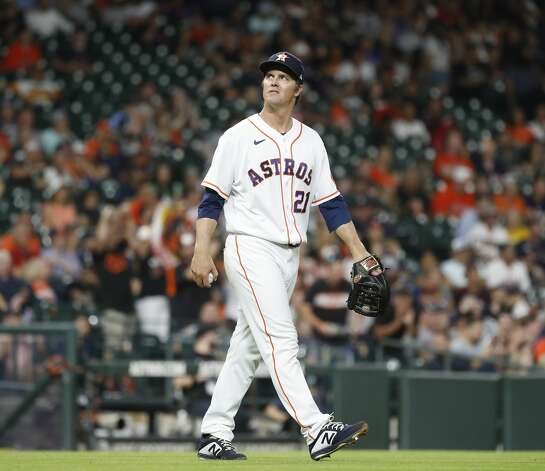 Houston Astros starting pitcher Zack Greinke (21) reacts after giving up a home run to Baltimore Orioles Ryan Mountcastle during the fifth inning of an MLB baseball game at Minute Maid Park, Monday, June 28, 2021, in Houston. Photo: Karen Warren/Staff Photographer / @2021 Houston Chronicle