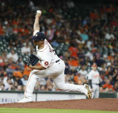 Houston Astros relief pitcher Andre Scrubb (70) pitches during the sixth inning of an MLB baseball game at Minute Maid Park, Monday, June 28, 2021, in Houston. Photo: Karen Warren/Staff Photographer / @2021 Houston Chronicle