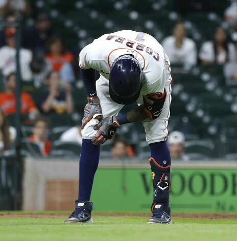 Houston Astros Carlos Correa (1) reacts after getting hit by a pitch from Baltimore Orioles relief pitcher Paul Fry during the ninth inning of an MLB baseball game at Minute Maid Park, Monday, June 28, 2021, in Houston. Photo: Karen Warren/Staff Photographer / @2021 Houston Chronicle