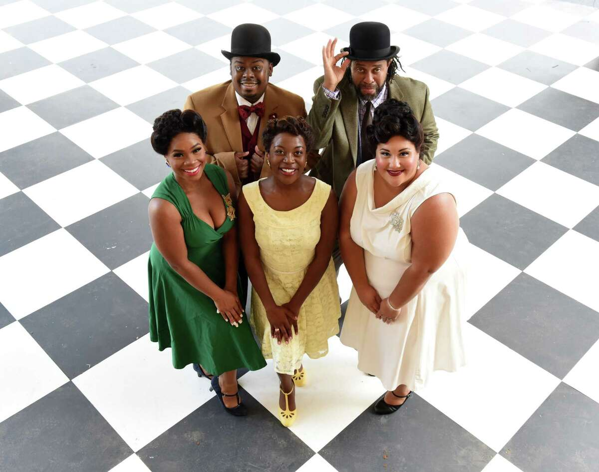 """Park Playhouse actors in the upcoming production of """"Ain't Misbehavin""""stand on stage on Monday, June 28, 2021, at the Washington Park Lakehouse stage in Albany, N.Y. Pictured are; Brandon Jones, upper left, Hayes Fields, Dashira Cortes, lower left, Mariah Lyttle, center, and Joyel Kaleel, lower right. (Will Waldron/Times Union)"""