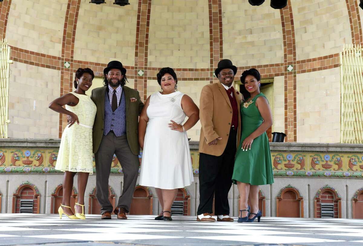 """Park Playhouse actors in the upcoming production of """"Ain't Misbehavin"""" stand on stage on Monday, June 28, 2021, at the Washington Park Lakehouse stage in Albany, N.Y. Pictured are; Mariah Lyttle, left, Hayes Fields, Joyel Kaleel, Brandon Jones and Dashira Cortes, right. (Will Waldron/Times Union)"""