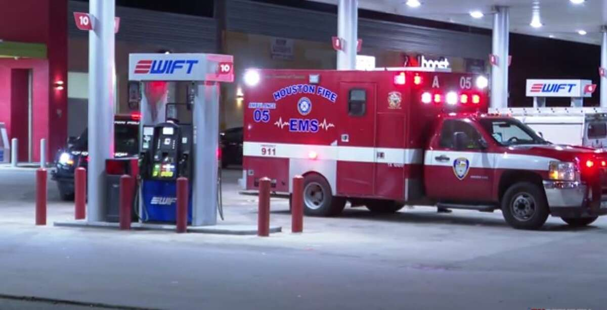 First responders at the scene of a shooting late Tuesday on the 7900 block of Amelia Road in northwest Houston. One man was transported to the hospital and is expected to survive.