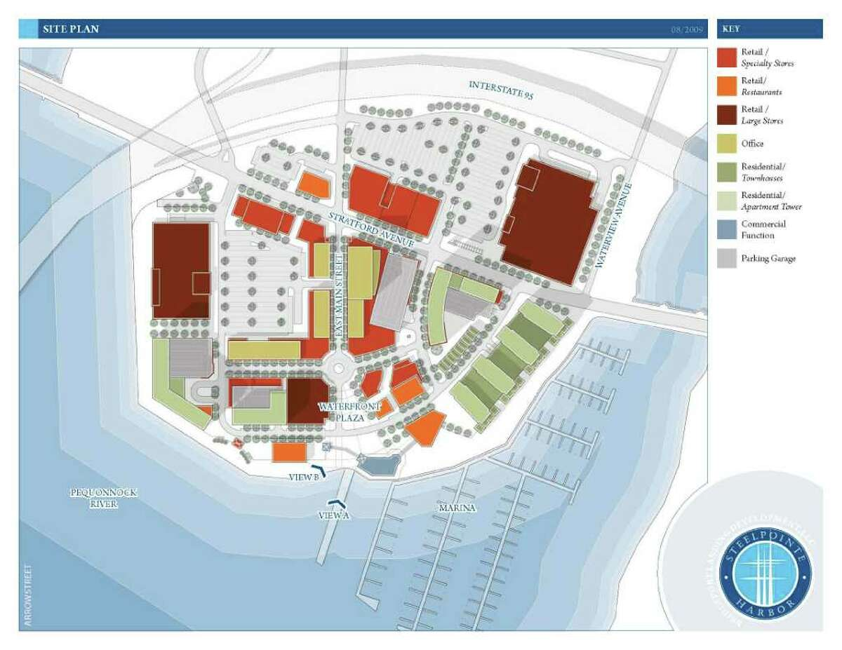 The siteplan for Steelpointe Harbor, the latest version of the development plan for the 52-acre peninsula. Developer Robert Christoph, principal of Bridgeport Landing Development, LLC, and Mayor Bill Finch, outlined the newest version of the development plans.