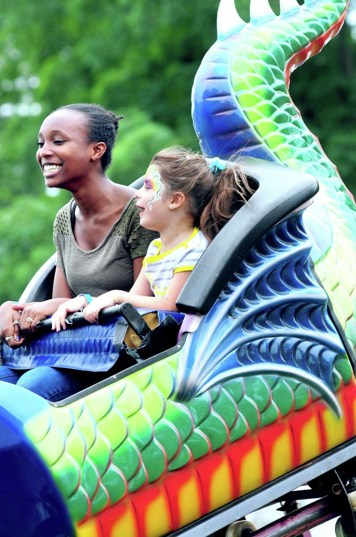 Riding the Dragon Wagon at the Savin Rock Festival in West Haven in 2013.