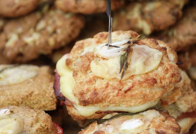 A ham and fontina scone is for sale at a pop-up kitchen set up by chef Jane Wild on Sunday, June 20, 2021, at the Rice Village Farmers Market in Houston. Photo: Jon Shapley, Houston Chronicle / Staff Photographer / © 2021 Houston Chronicle