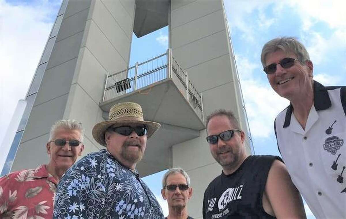 The Owlz band, left to right, Bill Sehlmeyer, Mike Young, Byron Sutton, Chuck Hirschberg and Al Coalson at the Lewis and Clark Confluence Tower in Hartford. The band will play Grafton's Music in the Park at 7 p.m. Friday at The Grove Memorial Park prior to the city of Grafton's Fireworks on the Mississippi River, and Thursday, July 15, at the Alton Marina before the Great Rivers and Routes' fireworks show on the Alton riverfront.