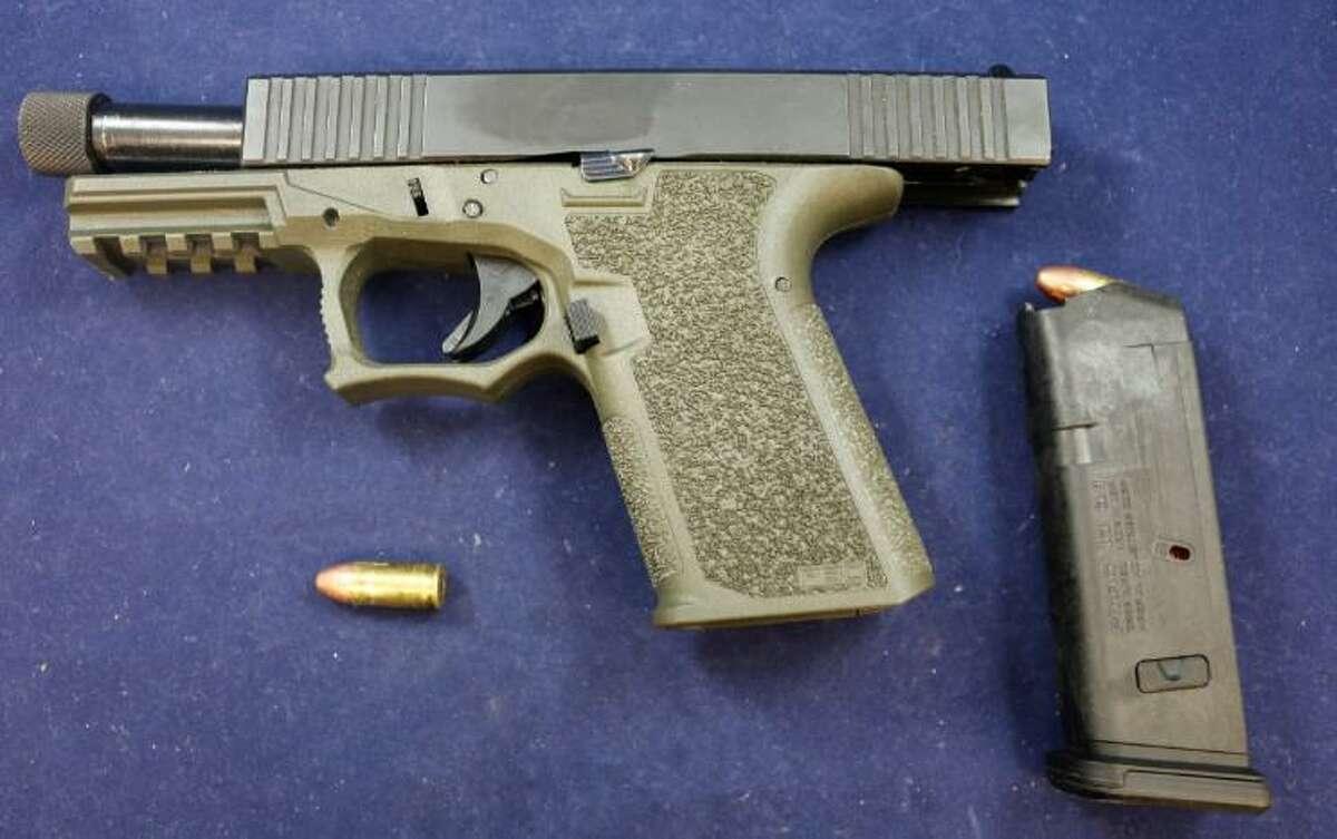 A ghost gun seized during an arrest in Waterbury, Conn., on Saturday, June 26, 2021.