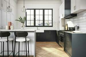 Interior design of elegant kitchen with black and white elements.