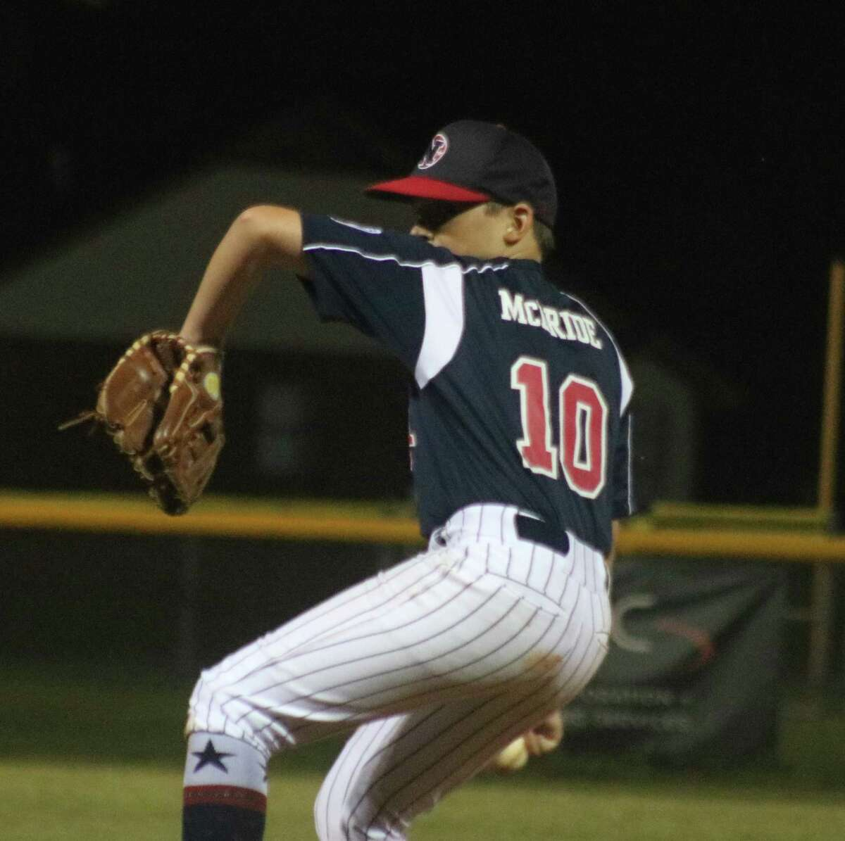 Jacob McBride goes through his wind-up Monday night. Although he received a no-decision, he surrendered just one run during his long stint on the hill.