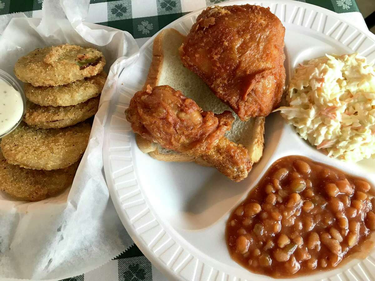 Fried green tomatoes, fried chicken, baked beans and coleslaw from Gus's World Famous Fried Chicken