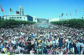 A photo of the crowd at the 1978 San Francisco Pride.