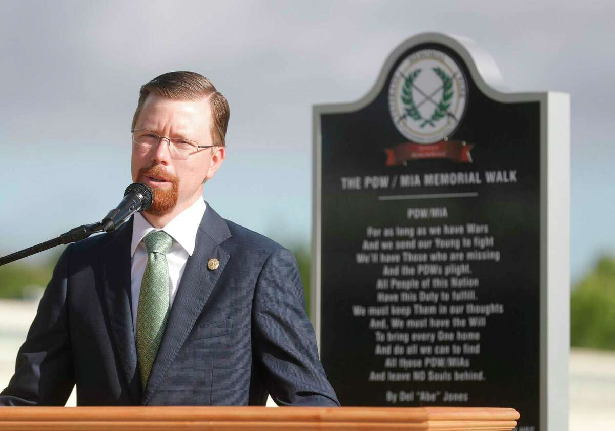 State Rep. Will Metcalf, R-Conroe, announces securing $7 million in state funding from Texas Parks and Wildlife to help continue the development of the Montgomery County Veterans Memorial Park, Tuesday, June 29, 2021, in Conroe.