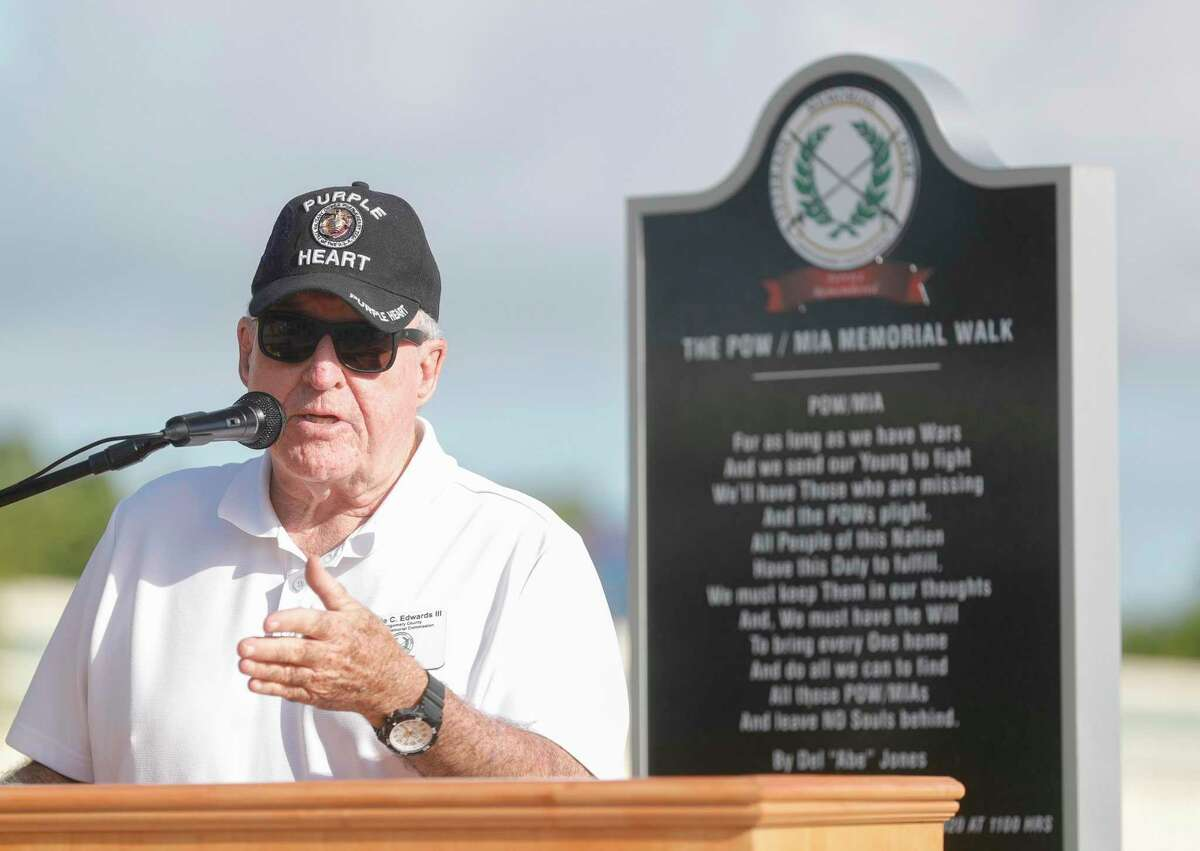 Retired United States Marine Corps Cpl. Jimmie Edwards III speaks after State Rep. Will Metcalf announced securing $7 million in state funding from Texas Parks and Wildlife to help continue the development of the Montgomery County Veterans Memorial Park, Tuesday, June 29, 2021, in Conroe.