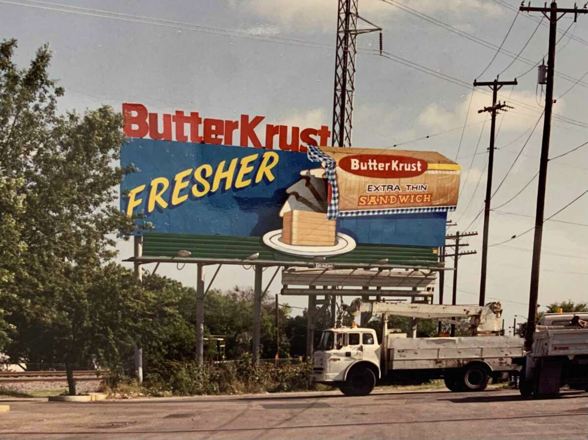 The old ButterKrust animated billboard on San Pedro near Hildebrand, shown in 1992. At one point it was the only animated billboard in San Antonio.