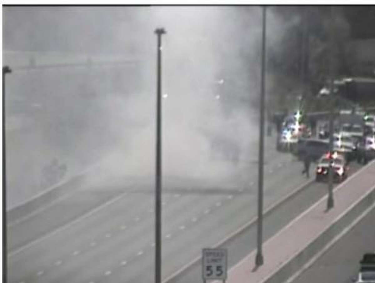 A vehicle fire on I-84 westbound near Exit 25 in Waterbury, Conn. on Tuesday, June 29, 2021.