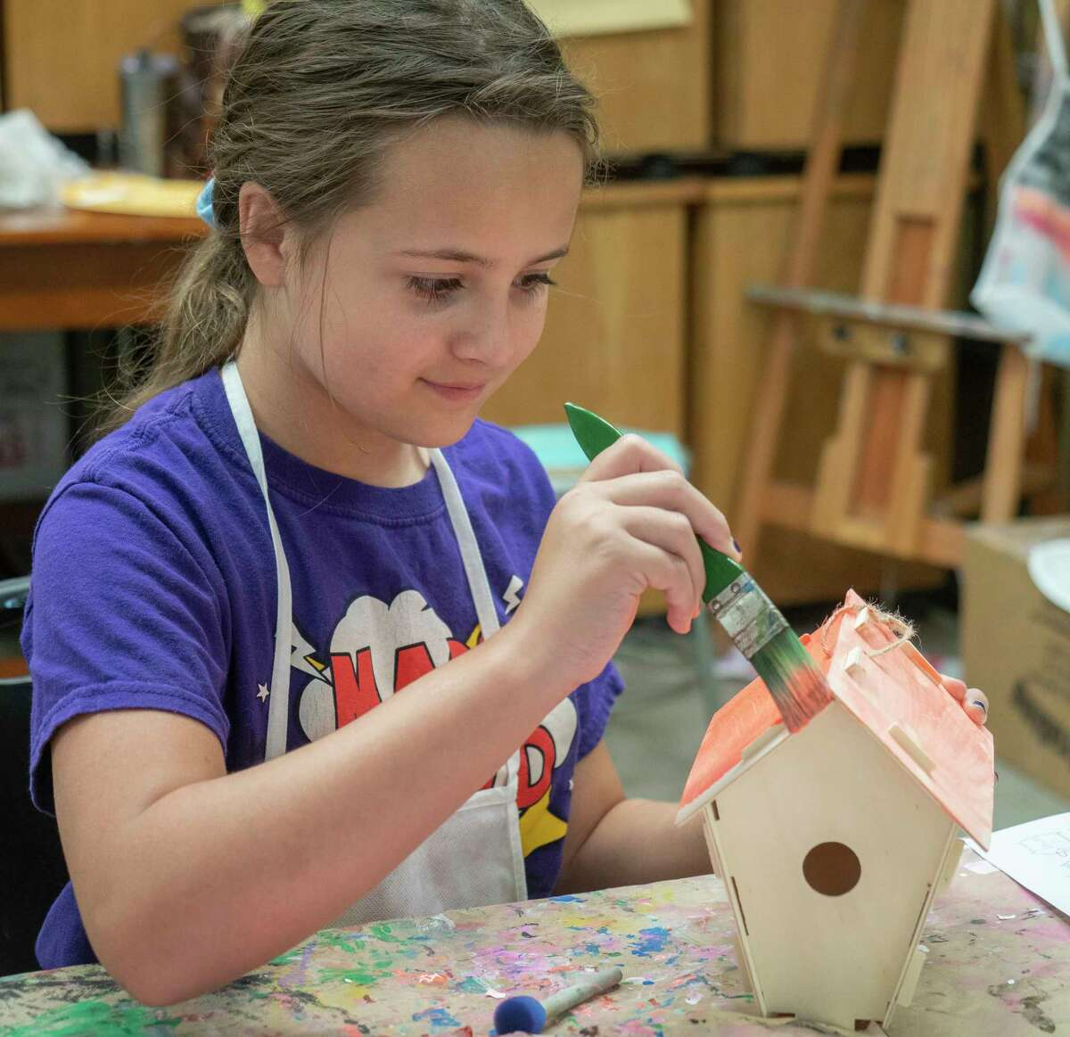Bird houses and other crafts are designed during Painting Extravaganza during Kids College 06/29/2021 at Midland College. Tim Fischer/Reporter-Telegram
