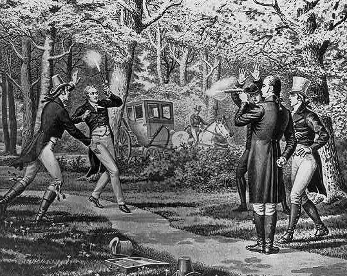 An illustration of the famous duel between Alexander Hamilton and Aaron Burr. Hamilton was killed in the duel and Burr's political career fell apart. Two years later, Burr would challenge Alton, Illinois founder Rufus Easton to a duel.
