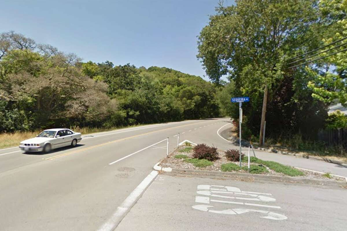 A screen shot taken from Google Maps of the intersection of Lucas Valley Road at Sequeira Road.