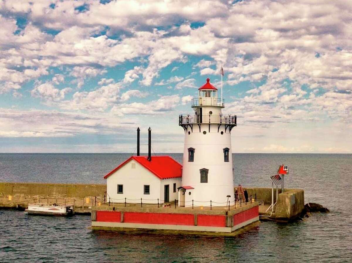 The Harbor Beach Lighthouse sits at the end of the north breakwall on Lake Huron. (Paul Clark/Courtesy Photo)
