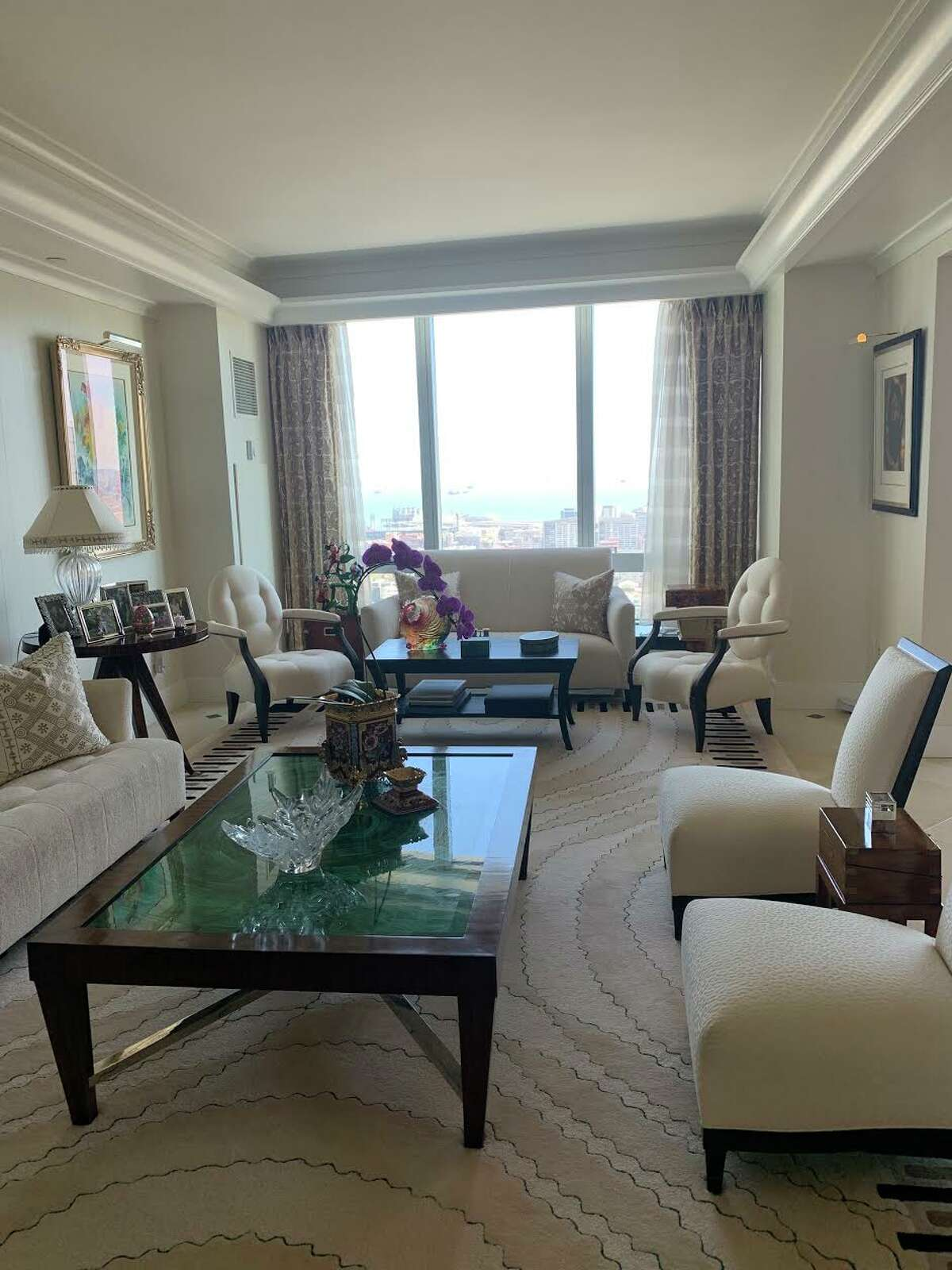 """The buyer also liked that the luxurious residence was in """"mint condition,"""" said Lynn, with designer finishes like custom window treatments, silk wallpaper and gilded ceilings."""