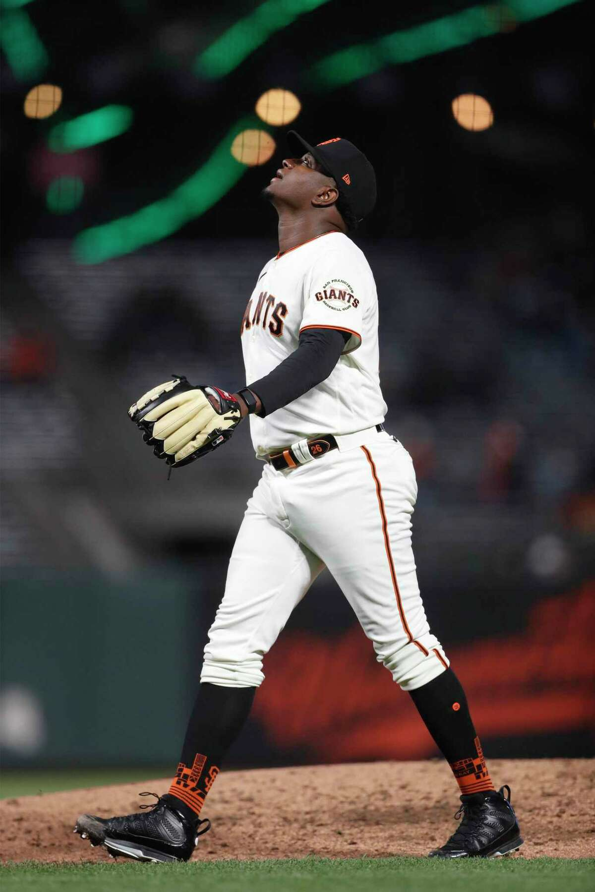 San Francisco Giants' Gregory Santos looks skyward after making his major league debut against Miami Marlins in 6th inning of MLB game at Oracle Park in San Francisco, Calif., on Thursday, April 22, 2021. Santos struck out the first two batters he faced while retiring the side in order in the inning.