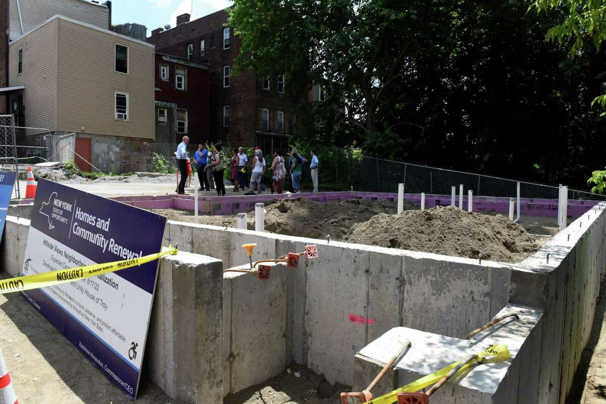 Foundation on Rensselaer Street for one of the Hillside Views Neighborhood Revitalization housing program properties on Tuesday, June 29, 2021, during a groundbreaking in Troy, N.Y. The housing development will consist of 51 apartments in several locations for individuals and families with 26 households to receive supportive services through Unity House. (Will Waldron/Times Union)