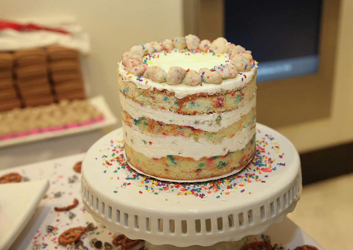 A picture of Milk Bar's sprinkle-splattered birthday cake.